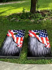 American Flag Cornhole Vintage Wood Siding Decals