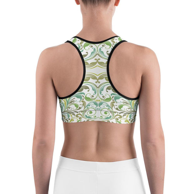 Green Pattern Sports Bra