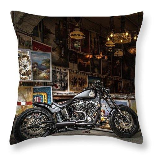 Motorcycle Painting - Throw Pillow
