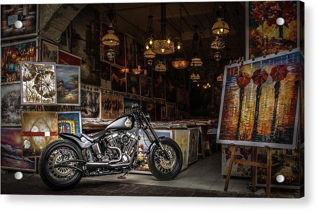 Motorcycle Painting - Acrylic Print