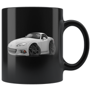 Gray Cartoon Car Hot Rod Coffee Mug Black