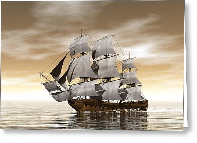 Old Merchant Ship - 3d Render - Greeting Card