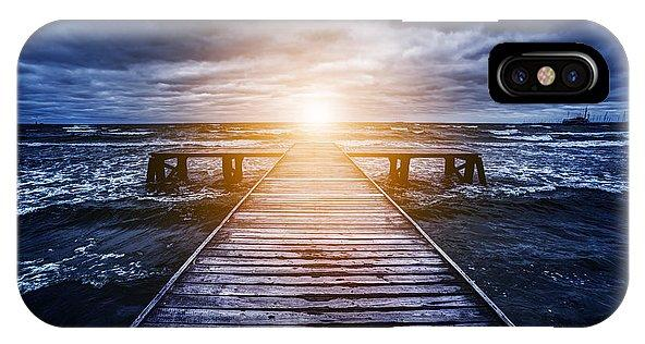 Old Wooden Jetty During Storm On The Ocean. Abstract Light - Phone Case