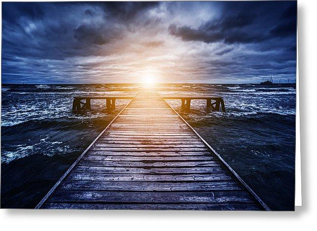 Old Wooden Jetty During Storm On The Ocean. Abstract Light - Greeting Card