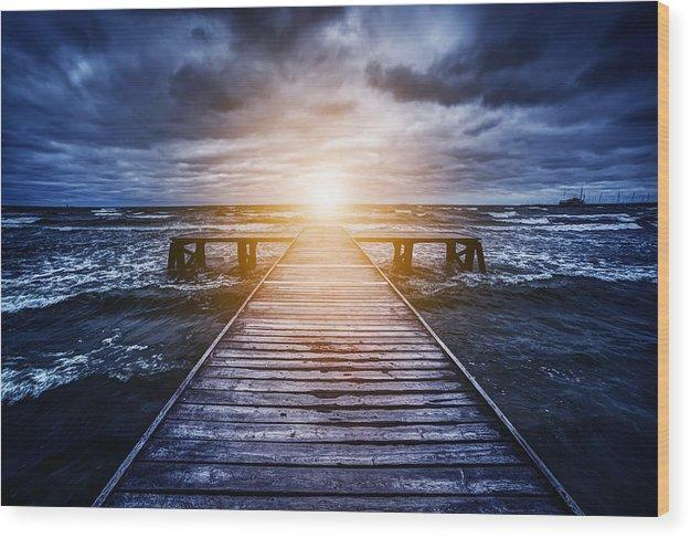 Old Wooden Jetty During Storm On The Ocean. Abstract Light - Wood Print