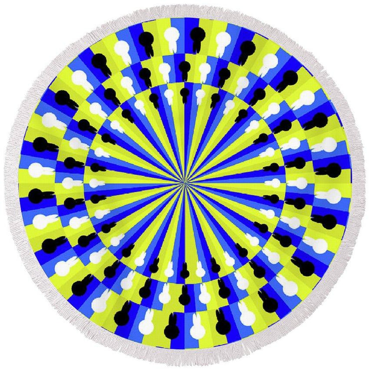 Optical Illusion Professor - Round Beach Towel