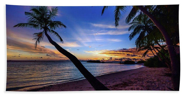 Palm Trees Beach Sunset - Beach Towel