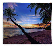 Palm Trees Beach Sunset - Blanket