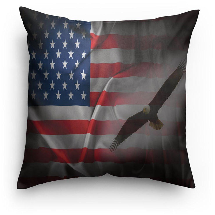 American Flag Eagle Design Throw Pillow / Patriotic - Let's Print Big