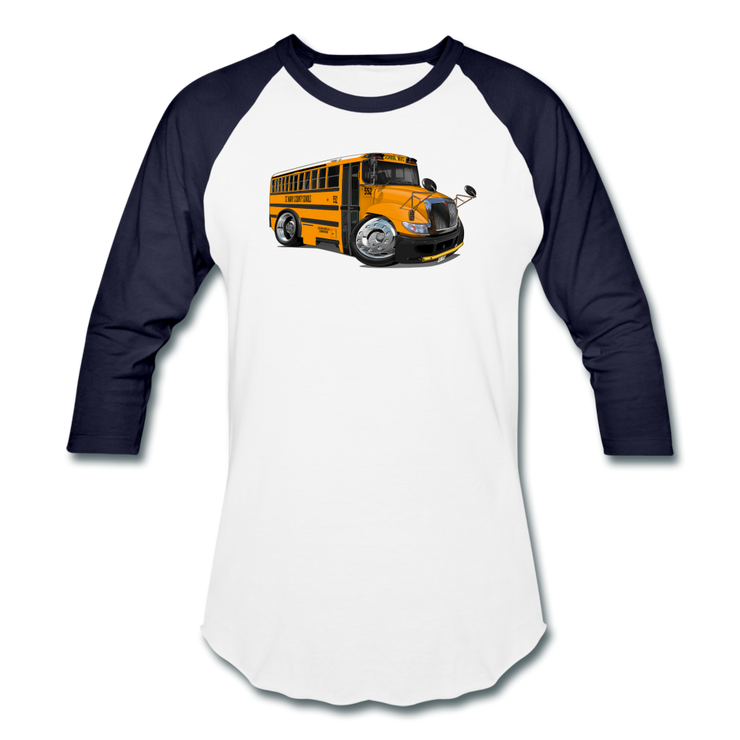 2017 International School Bus Car Art Baseball T-Shirt - white/navy