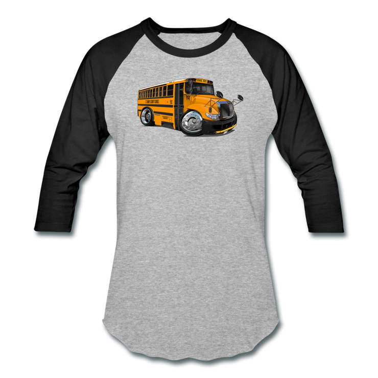 2017 International School Bus Car Art Baseball T-Shirt - heather gray/black
