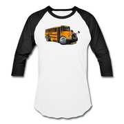 2017 International School Bus Car Art Baseball T-Shirt - white/black