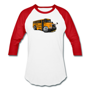 2017 International School Bus Car Art Baseball T-Shirt - white/red