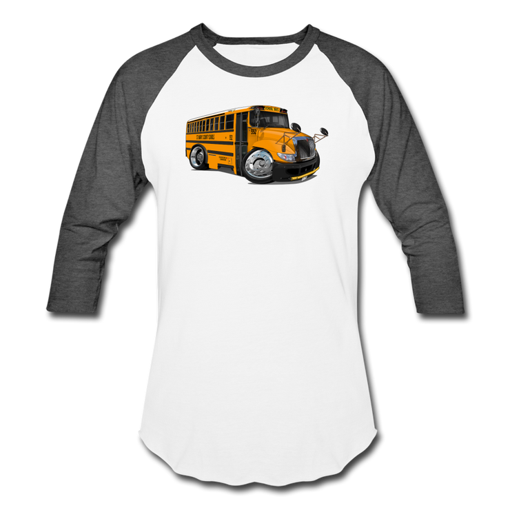2017 International School Bus Car Art Baseball T-Shirt - white/charcoal