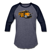 2017 International School Bus Car Art Baseball T-Shirt - heather blue/navy