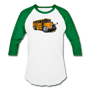 2017 International School Bus Car Art Baseball T-Shirt - white/kelly green