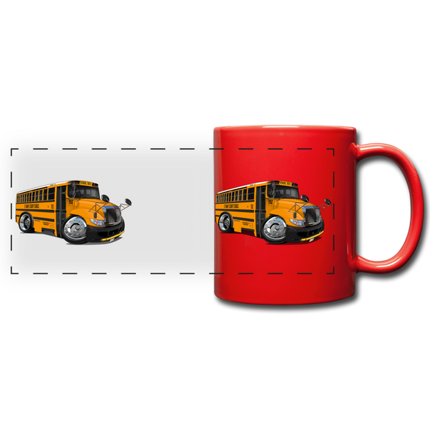 2017 International School Bus Car Art Full Color Panoramic Mug - red