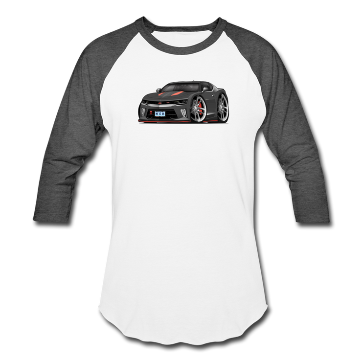 2017 Chevrolet Camaro RS 50th Anniversary Edition Car Art Baseball T-Shirt - white/charcoal
