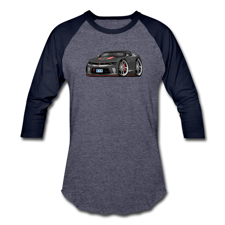 2017 Chevrolet Camaro RS 50th Anniversary Edition Car Art Baseball T-Shirt - heather blue/navy