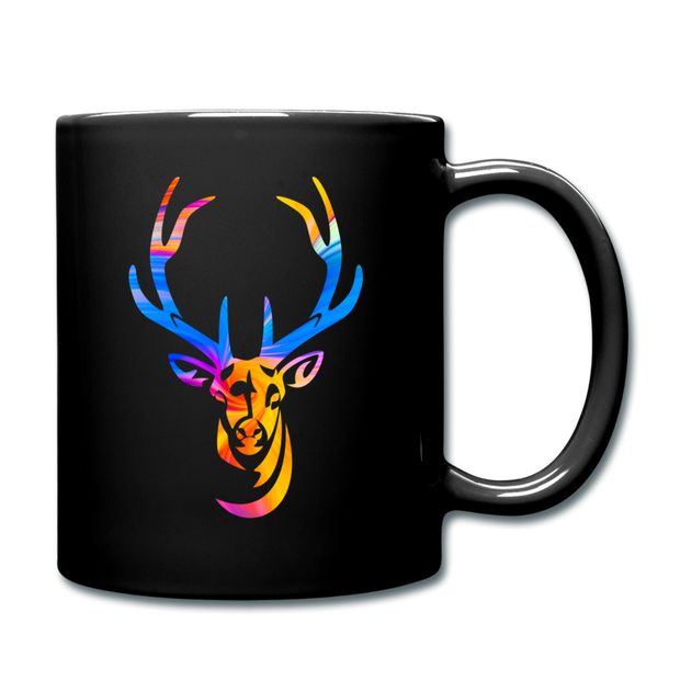 Rainbow Deer Full Color Coffee Mug - black