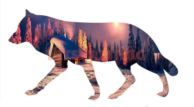 Wolf Silhouette Snow Cabin Background Image Large Wall Decals