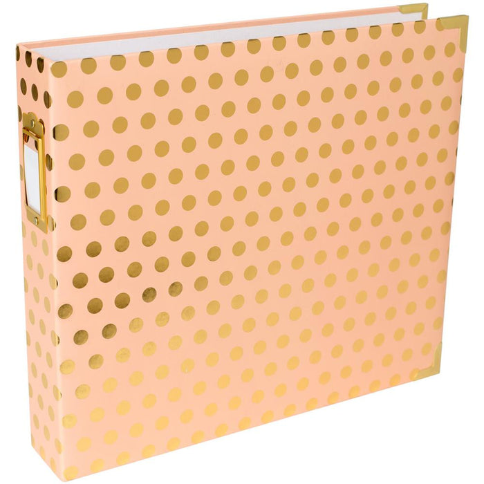 "Project Life D-Ring Album 12""X12""  Blush With Gold Dots 380561 