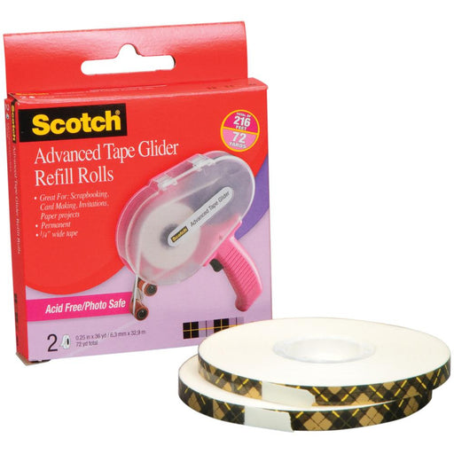 "3M Scotch Advanced Tape Glider Acid-Free Refills 2-Pkg 0.25"" x 36yd Each, For Use In 085 085RAF 