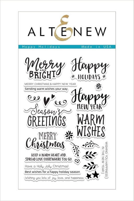 "Altenew Photopolymer Clear Stamp 4"" x 6"" Happy Holiday"