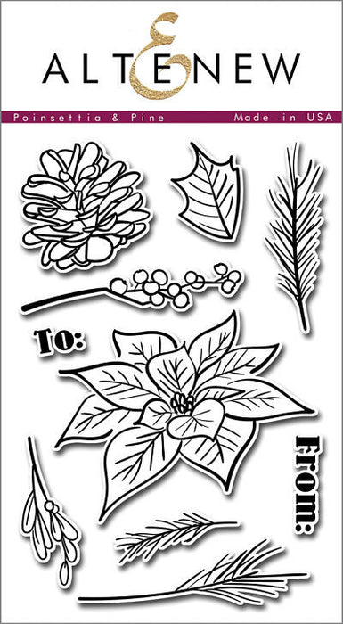 "Altenew Photopolymer Clear Stamp 4"" x 6"" Poinsettia & Pine 