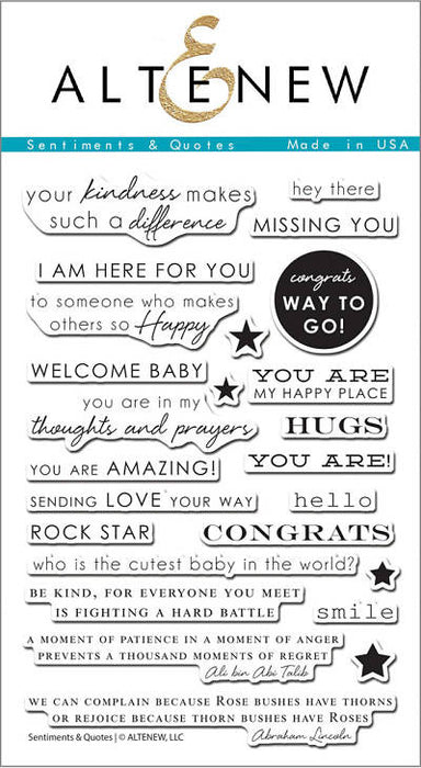 "Altenew Photopolymer Clear Stamp 4"" x 6"" Sentiments & Quotes 