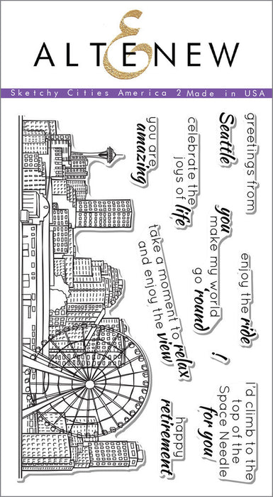"Altenew Photopolymer Clear Stamp 4"" x 6"" Sketchy Cities America 2 