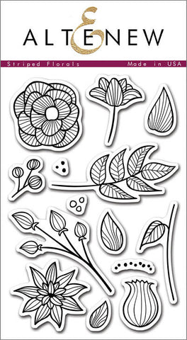 "Altenew Photopolymer Clear Stamp 4"" x 6"" Striped Florals 