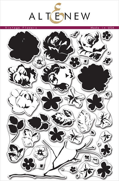 "Altenew Photopolymer Clear Stamp 6"" x 8"" Vintage Flowers 