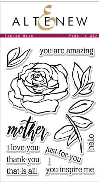 "Altenew Photopolymer Clear Stamp 4"" x 6"" Penned Rose FLO1032 
