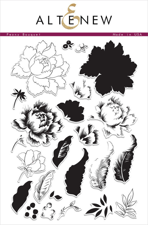 "Altenew Photopolymer Clear Stamp 6"" x 8"" Peony Bouquet 