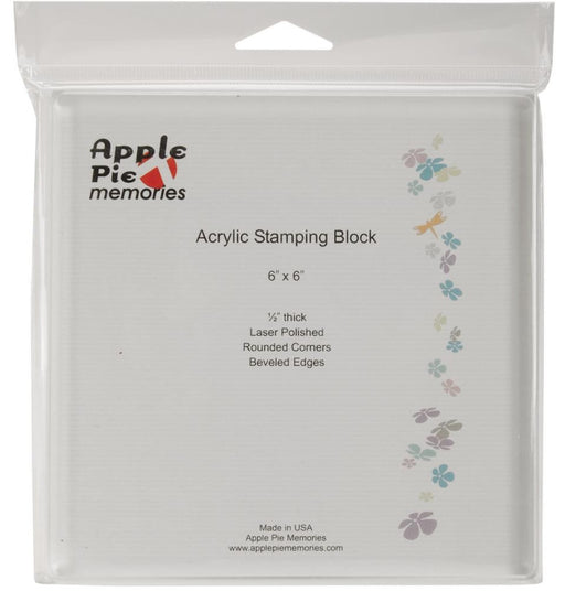 "Apple Pie Memories Acrylic Stamp Block 6"" x 6"" x .5"" AHPP25 