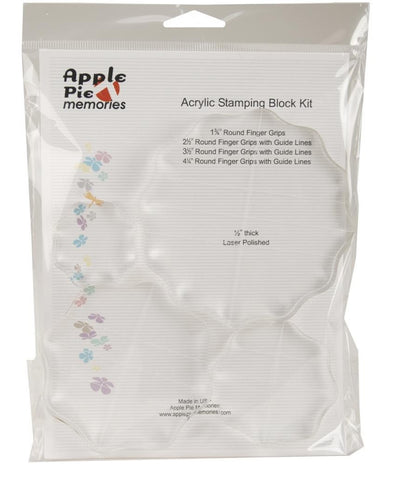 "Apple Pie Memories Acrylic Stamp Block Set 4-Pkg .5"" Thick, 1.75"", 2.5"", 3.5"",4.5"" With Grid KITAH010 