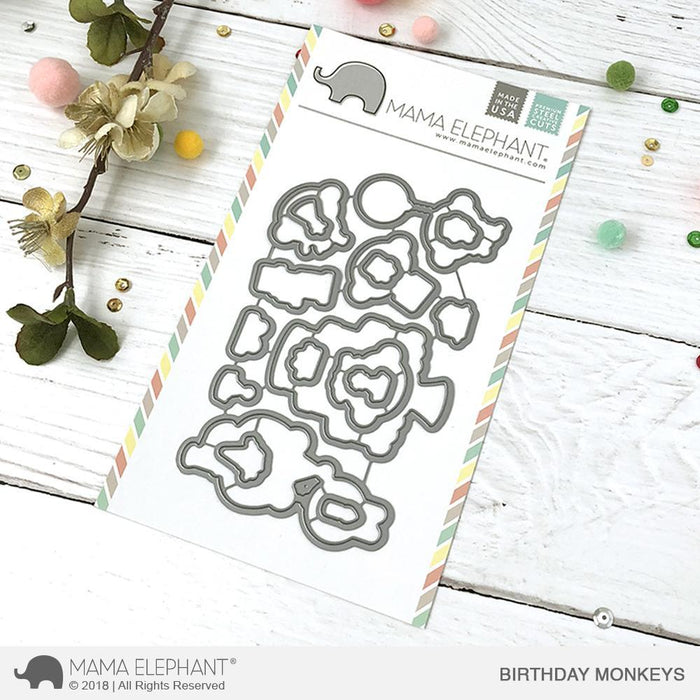 Mama Elephant Creative Cuts Birthday Monkeys