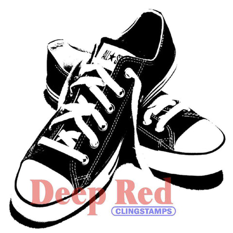 "Deep Red Cling Stamp 2"" x 2"" All Star Sneakers 3X404282 