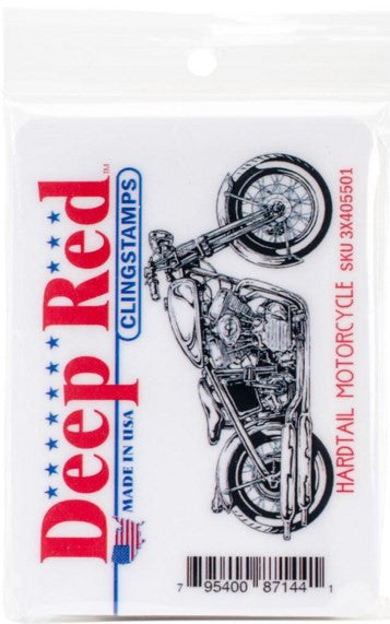 "Deep Red Cling Stamp 3"" x 1.5"" Hardtail Motorcycle 3X405501 