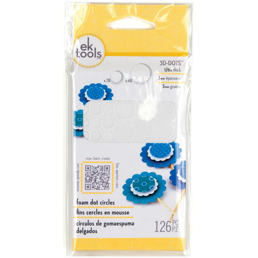 "EK Success 3D Dots Foam Dot Adhesive White Circles .125"" Thick 126-Pkg E5501046 