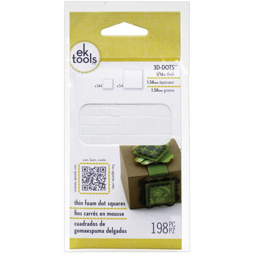 "EK Success 3D Dots Foam Dot Adhesive White Squares .0625"" Thick 198-Pkg E5501045 