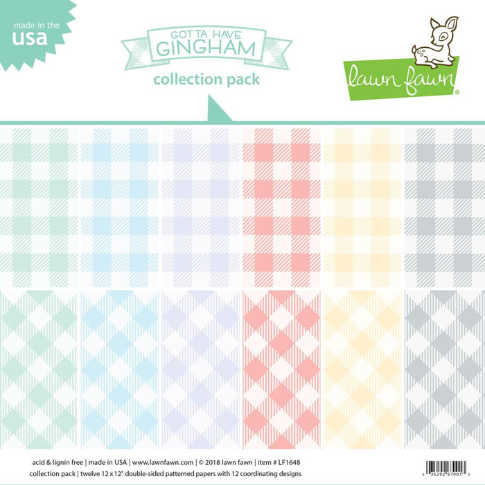 "Lawn Fawn Double-Sided Collection Pack 12""X12"" 12/Pkg Gotta Have Gingham LF1648"