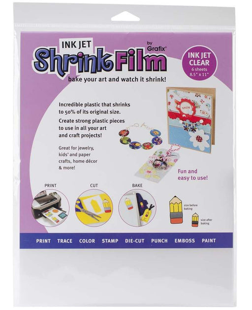 "Grafix Ink Jet Shrink Film 8.5"" x 11"" 6-Pkg Clear KSF6-CIJ 