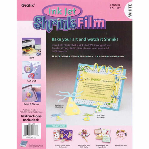 "Grafix Ink Jet Shrink Film 8.5"" x 11"" 6-Pkg White KSF6-WIJ 