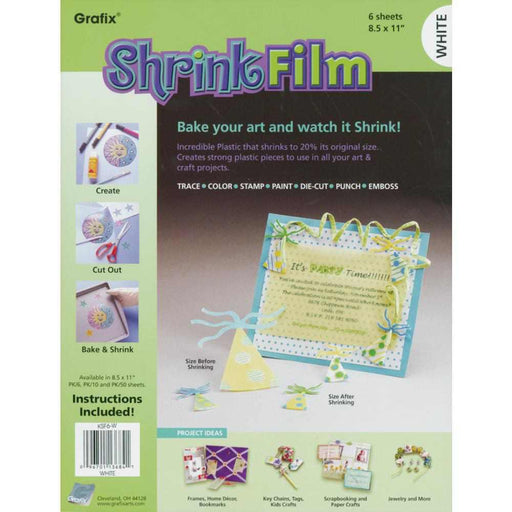 "Grafix Shrink Film 8.5"" x 11"" 6-Pkg White KSF6 W 