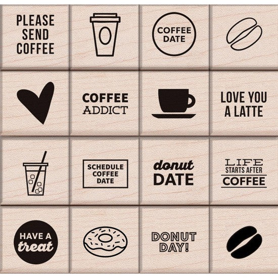 Hero Arts Kelly Purkey Mounted Rubber Stamp Set 3 X Coffee Donuts