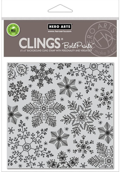 "Hero Arts Cling Stamps 4.5"" x 5.75"" Hand Drawn Snowflakes Bold Prints HA-CG685 