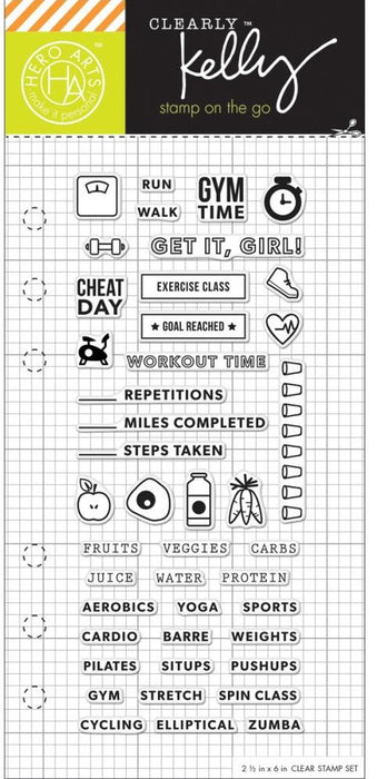 Hero Arts Kelly Purkey Clear Stamps 25 X 6 Fitness Planner HA CL937