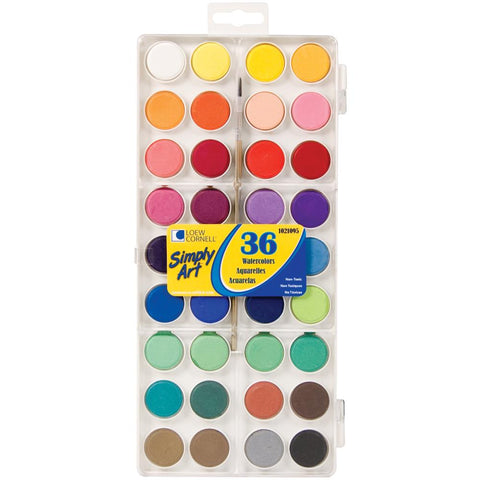 Simply Art Watercolor Paint Cakes 36/Pkg Assorted Colors S1021095